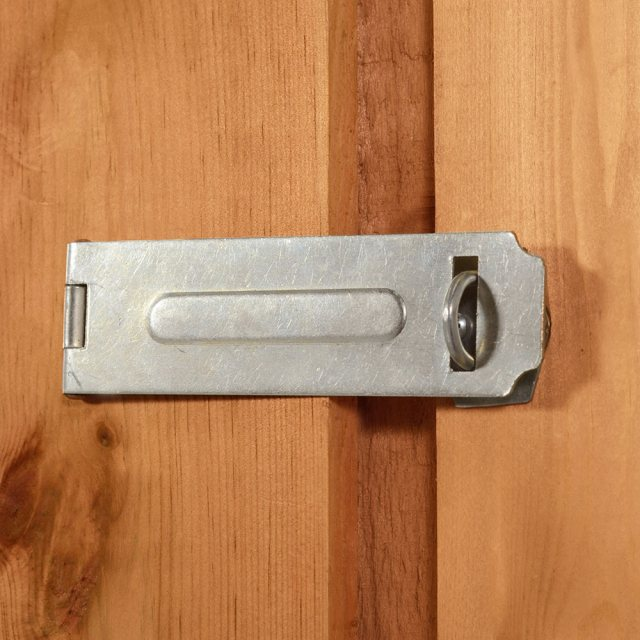 7x5 Forest Overlap Apex Garden Shed - hasp and staple latch