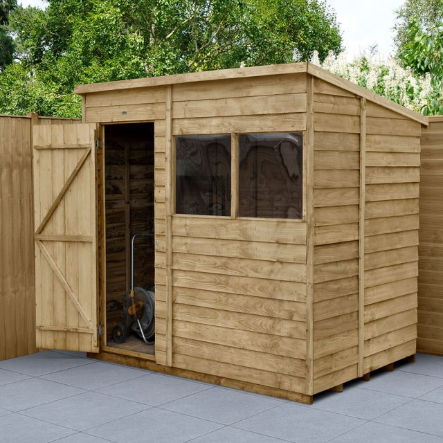 7x5 Forest Overlap Pent Shed - Pressure Treated - angled shed with door open