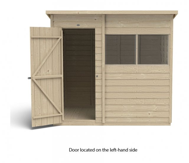 7x5 Forest Overlap Pent Shed - Pressure Treated - isolated with door located on the left hand side