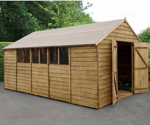 10 x 15 Forest Overlap Workshop Shed - Presure Treated - angled shed with door open