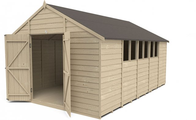 10 x 15 Forest Overlap Workshop Shed - Pressre Treated - doors open and windows on the right hand si