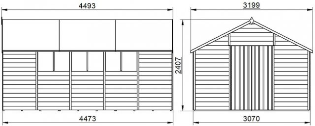 10 x 15 Forest Overlap Workshop Shed - Pressure Treated - external dimensions
