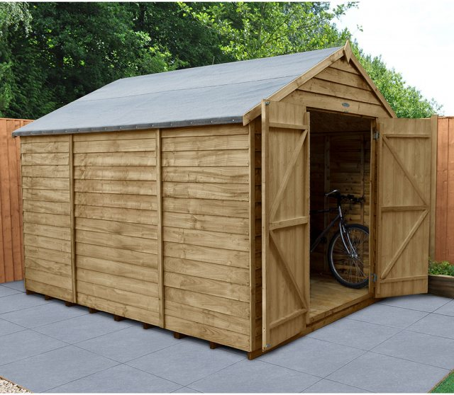 10 x 8 Forest Overlap Apex Shed - No Windows - Pressure Treated - angled shed with door open
