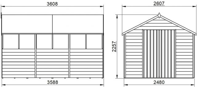 12 x 8 Forest Overlap Apex Shed - Pressure Treated - external dimensions