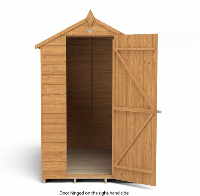 6 x 4 Forest Overlap Apex Garden Shed - isolated with door hinged on the right hand side