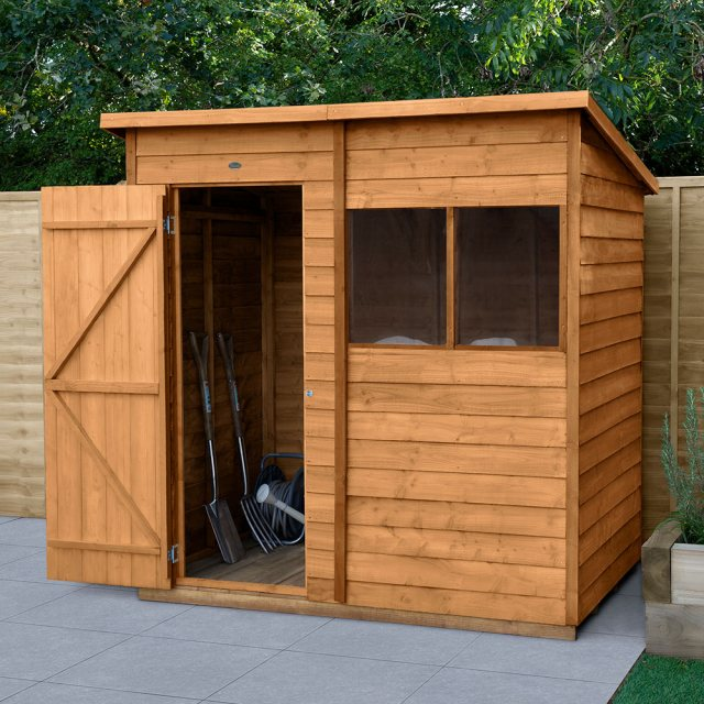 6 x 4 Forest Overlap Pent Garden Shed - angled shed with door open