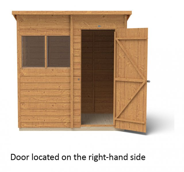 6 x 4 Forest Overlap Pent Garden Shed -  isolated with door located on the right hand side