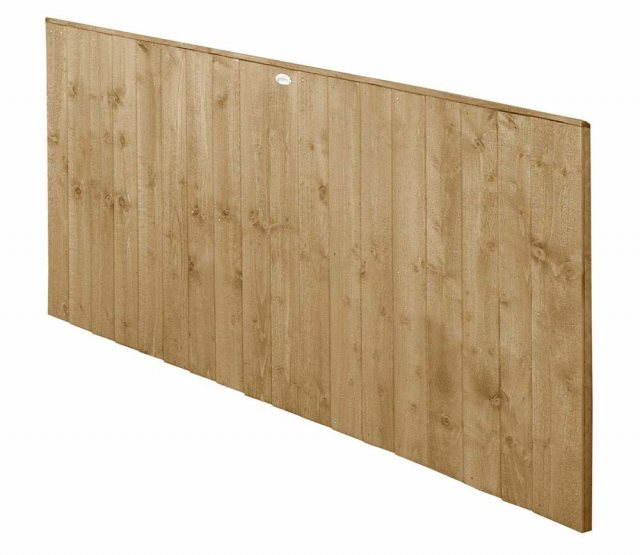 3ft High Forest Featheredge Fence Panel - Pressure Treated - isolated angled view