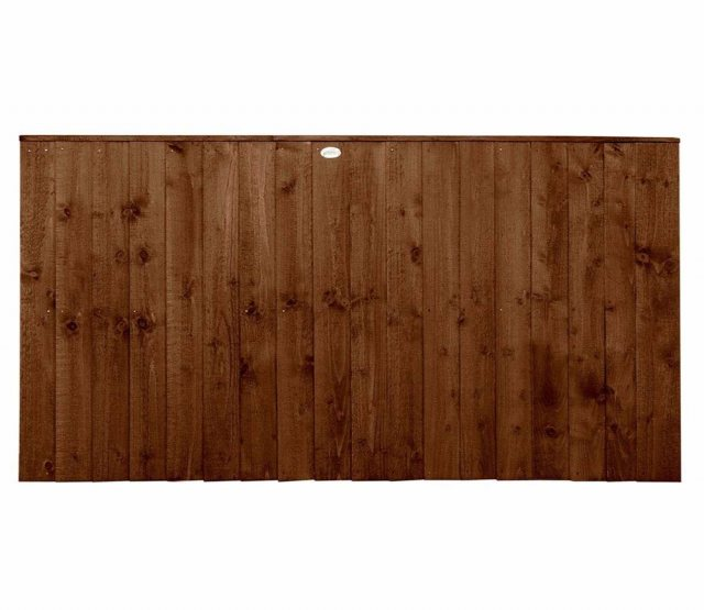 3ft High Forest Featheredge Fence Panel - Brown Pressure Treated - Isolated View