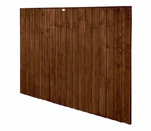 5ft High Forest Featheredge Fence Panel - Brown Pressure Treated - Isolated Angled View
