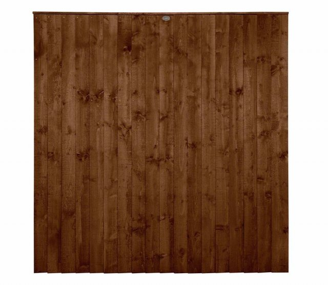 6ft High Forest Featheredge Fence Panel - Brown Pressure Treated - Isolated View