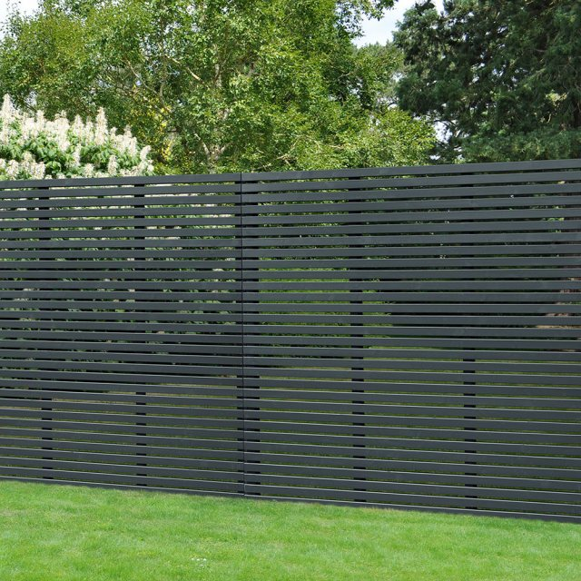 6ft High Forest Slatted Fence Panel - Anthracite Grey - insitu