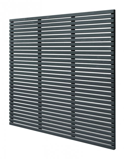 6ft High (1800mm) Forest Slatted Fence Panel - Anthracite Grey - isolated angled view