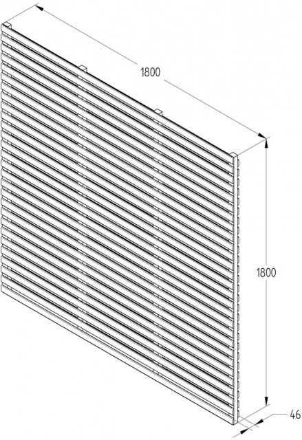 6ft High Forest Contemporary Double-Sided Slatted Fence Panel - Anthracite Grey - dimensions