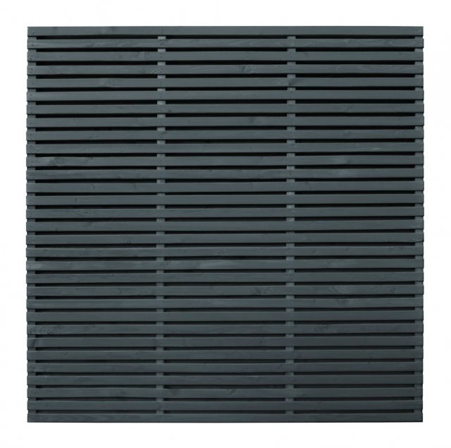 6ft High Forest Contemporary Double-Sided Slatted Fence Panel - Anthracite Grey - isolated front vie