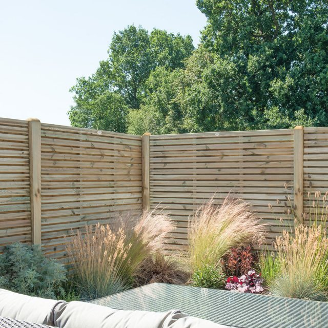 5ft High Forest Double Slatted Fence Panel - Pressure Treated - insitu
