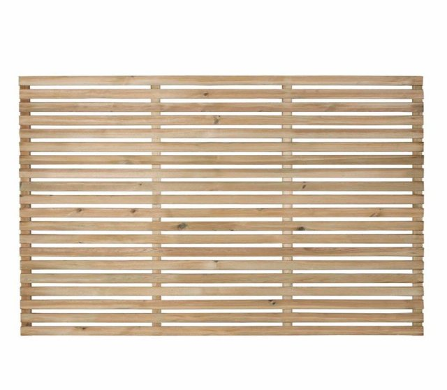 4ft High Forest Single Slatted Fence Panel  - Pressure Treated - isolated front view