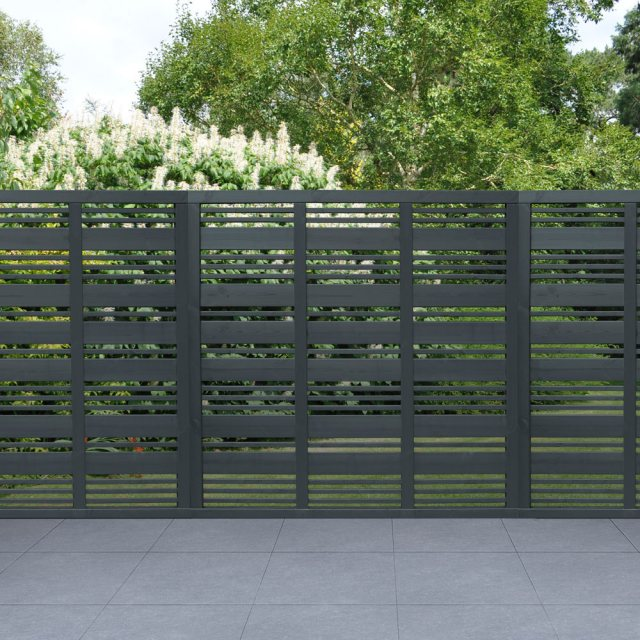 6ft High Forest Contemporary Mixed Slatted Fence Panel - Anthracite Grey - Pressure Treated - insitu