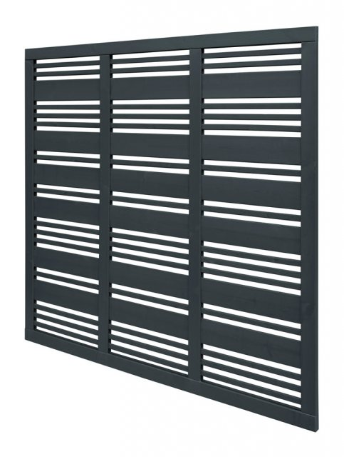 6ft High Forest Contemporary Mixed Slatted Fence Panel - Anthracite Grey - Pressure Treated