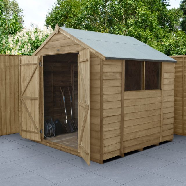 7 x 7 Forest Overlap Shed - Pressure Treated  - insitu  angle and with doors open