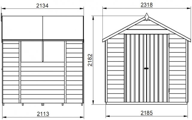 7 x 7 Forest Overlap Shed - Pressure Treated - external dimensions