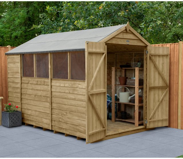 10 x 6 Forest Overlap Shed - Pressure Treated - insitu with doors open