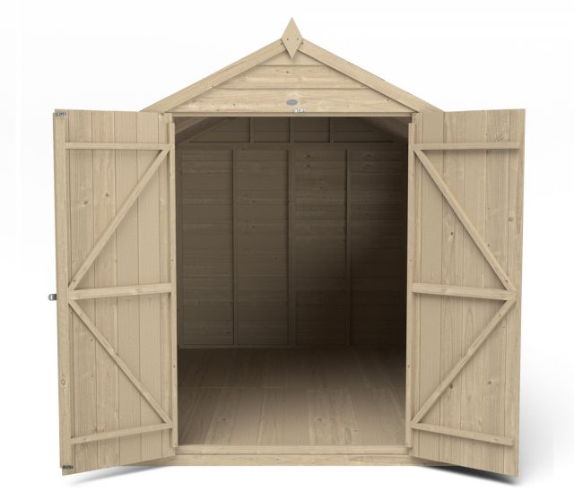 10 x 6 Forest Overlap Shed - Pressure Treated - isolated front elevation with doors open
