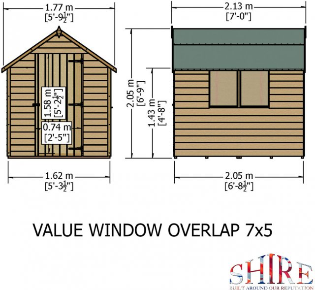 7 x 5 (2.05m x 1.62m) Shire Value Overlap Shed  - dimensions