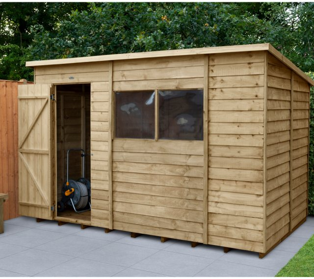 10 x 6 Forest Overlap Pent Shed - Pressure Treated - insitu with door open on the left hand side
