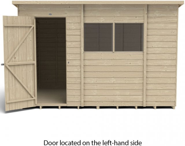 10 x 6 Forest Overlap Pent Shed - Pressure Treated - isolated with door located on the left hand sid