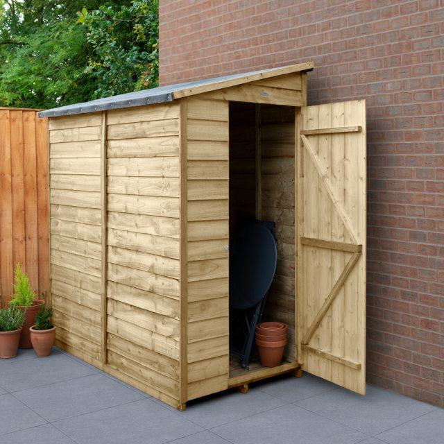 6x3 Forest Overlap Windowless Lean-to Shed - Pressure Treated - in situ with door open