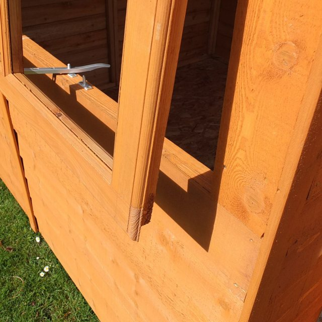 7 x 7 Shire Overlap Shed - close up of window opening and displaying of the window profile