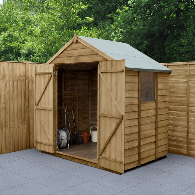 5 x 7 Forest Overlap Shed - Pressure Treated - insitu with doors open