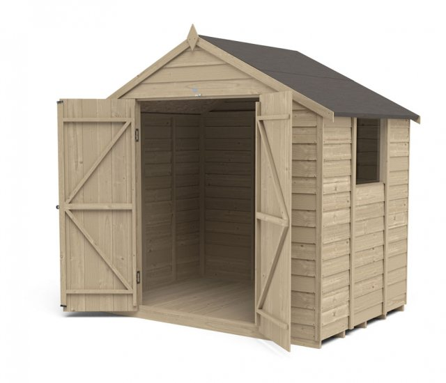 5 x 7 Forest Overlap Shed - Pressure Treated - isolated with doors open