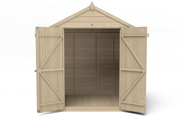 5 x 7 Forest Overlap Shed - Pressure Treated - isolated  front elevation with doors open
