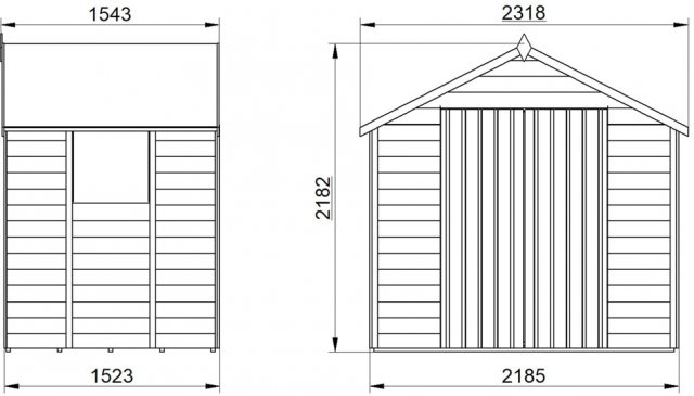 5 x 7 Forest Overlap Shed - Pressure Treated- isolated  external dimensions