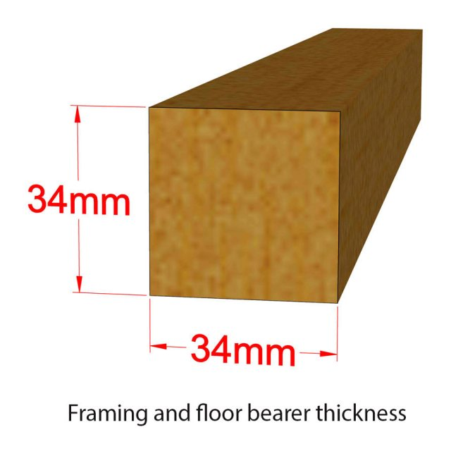 8 x 6 Shire Value Overlap Shed - Pressure Treated - framing and bearer dimensions