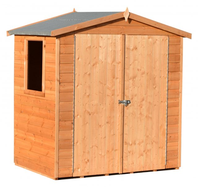 4x6 Shire Lewis Professional Shed - isolated angled front view with doors closed