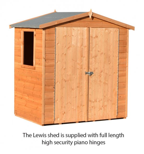 4x6 Shire Lewis Professional Shed - showing the hidden piano hinges