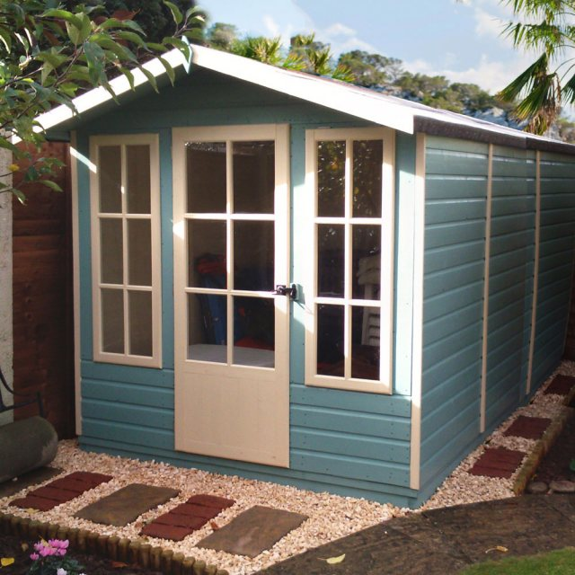 7 x 10 Shire Badminton Summerhouse - insitu and door closed