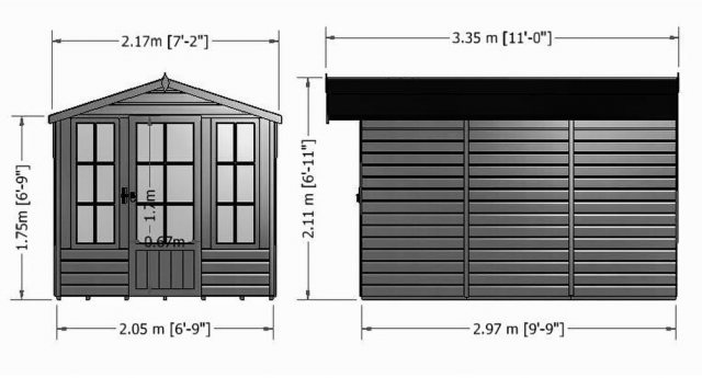 7 x 10 Shire Badminton Summerhouse - external dimensions