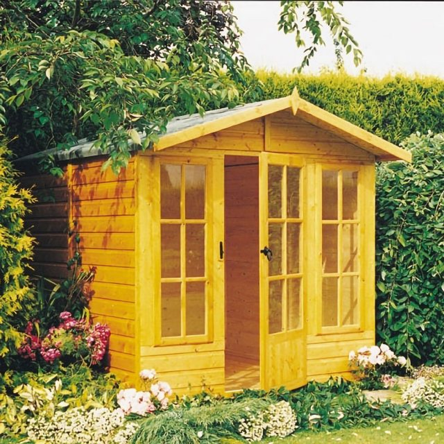 7 x 10 Shire Badminton Summerhouse - in natural finish door open
