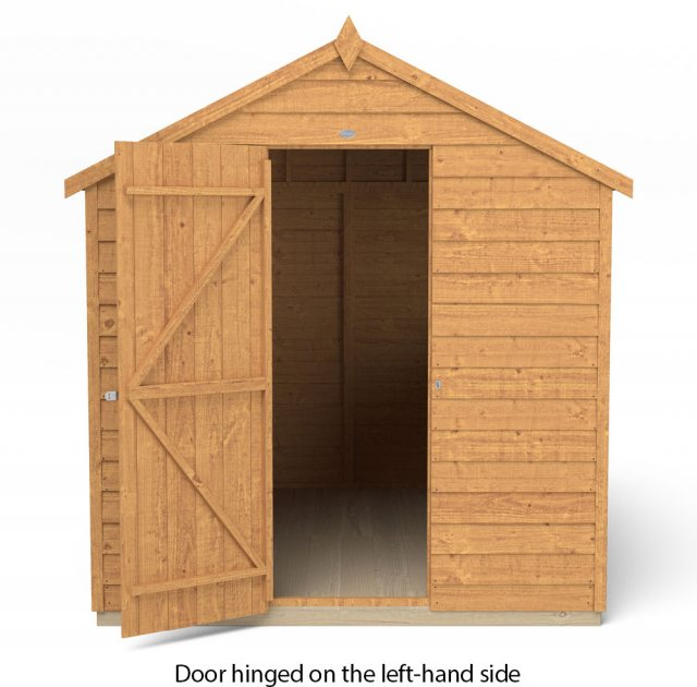 8x6 Forest Overlap Shed - isolated with door hinged on the left hand side