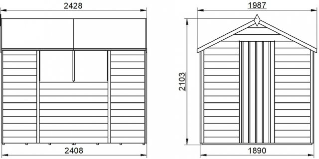 8x6 Forest Overlap Shed - external dimensions