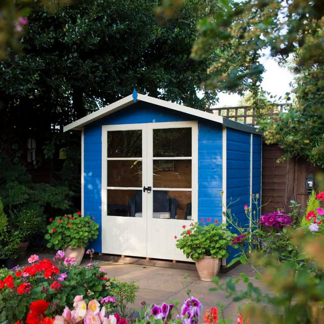 7 x 5 Shire Mumley Summerhouse - Pressure Treated - insitu with doors closed