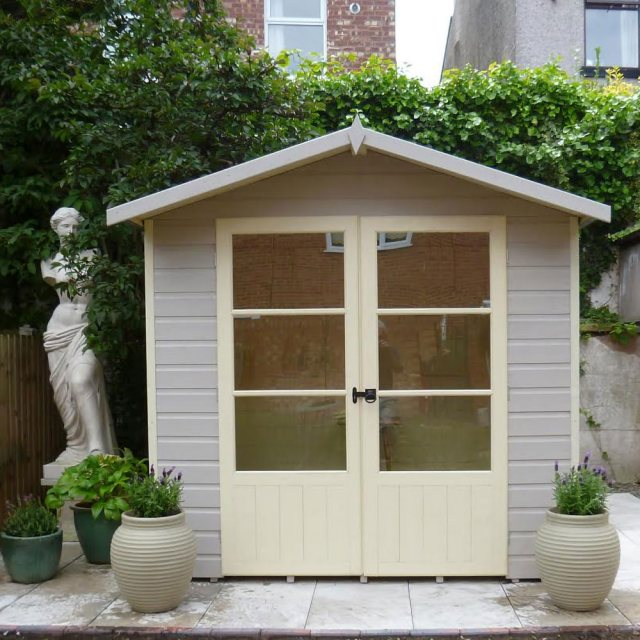 7 x 5 Shire Mumley Summerhouse - Pressure Treated - painted and showing front elevation