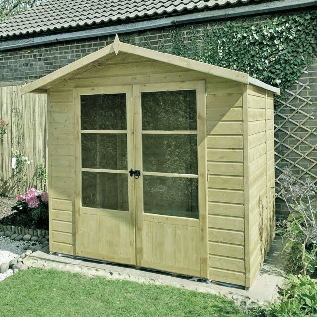 7 x 5 Shire Mumley Summerhouse - Pressure Treated - natural with angled view and doors closed