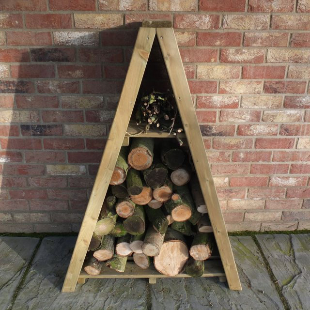3 x 2 Shire Overlap Small Triangular Log Store - Pressure Treated - with logs insitu