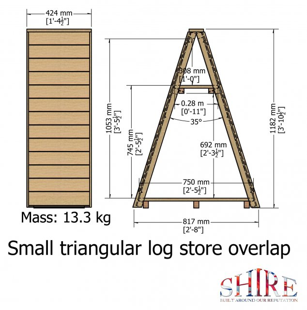 3 x 2 Shire Overlap Small Triangular Log Store - Pressure Treated - dimensions