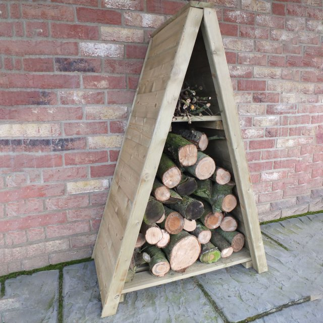 3 x 2 Shire T&G Small Triangular Log Store - Pressure Treated - with logs insitu